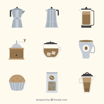 Collection of coffee elements