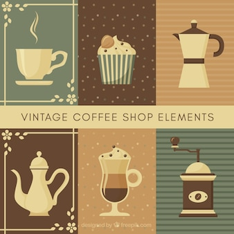 Collection of coffee pot and other elements in vintage style
