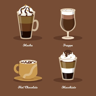 Collection of coffee types