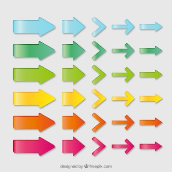 Collection of colored arrows Free Vector