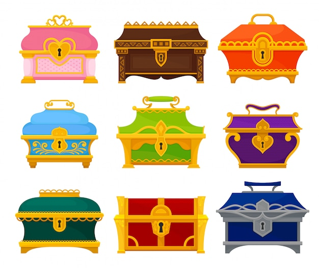 Collection of colored chests on white background.
