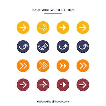 Raccolta di cerchio colorato con frecce