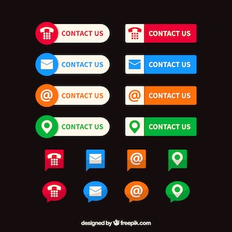 Collection of colored contact buttons and icons