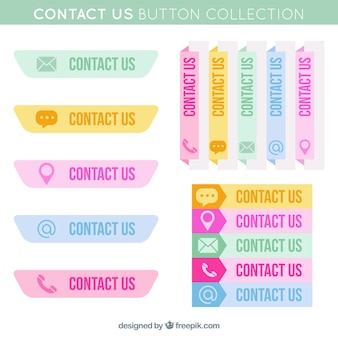 Collection of colored contact buttons