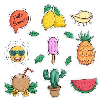 Collection of colored doodle summer icons with pineapple coconut drink and watermelon