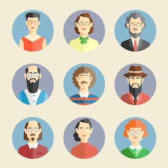 Collection of colored faces in flat style depicting the heads and shoulders of diverse men and women facing the viewer in round blue frames  vector illustration