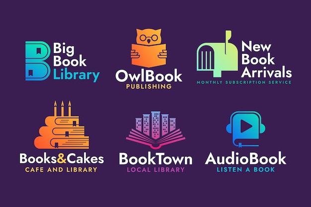 Collection of colored flat design book logo