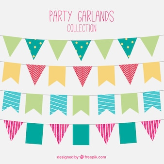 Collection of colored garlands in flat design