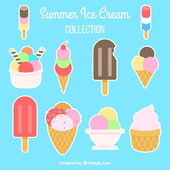 Collection of colored ice-cream label