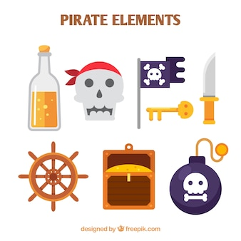 Collection of colored pirate objects in flat design