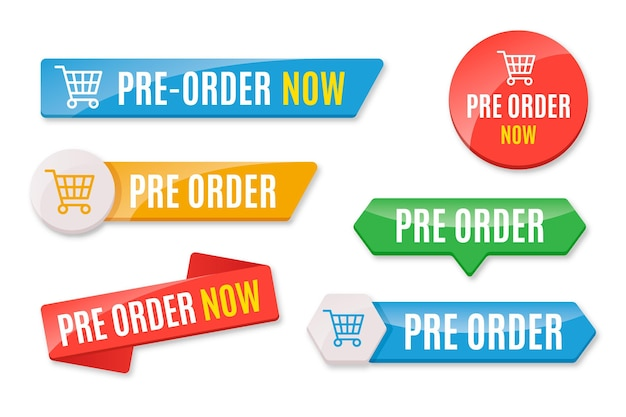 Collection of colored pre-order badges