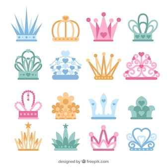 Collection of colored princess crowns in flat design