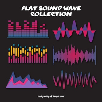 Collection of colored sound waves in flat design