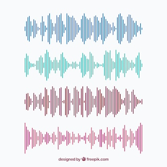 Collection of colored sound waves made of lines