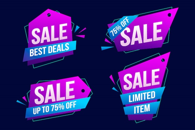 Collection of colorful abstract sales banner