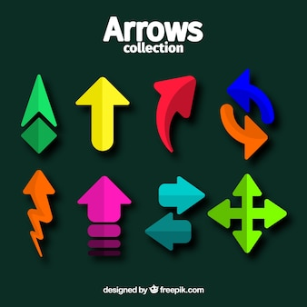 Collection of colorful arrows in flat design