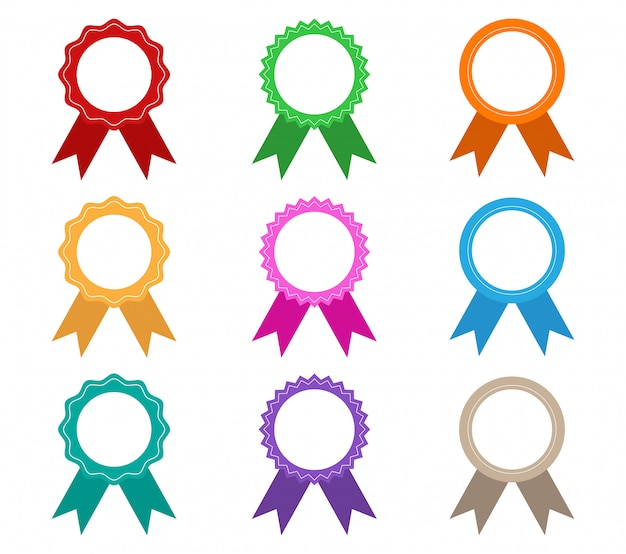 Collection of colorful award ribbons vector set