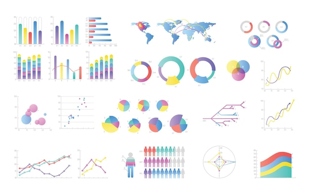 Collection of colorful bar charts, pie diagrams, linear graphs, scatter plots
