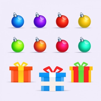 Collection of colorful baubles and gifts