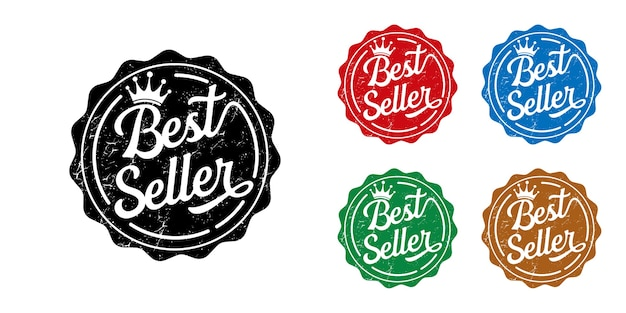 Collection of colorful best seller labels