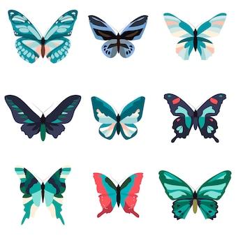 Collezione di farfalle colorate isolate su sfondo bianco