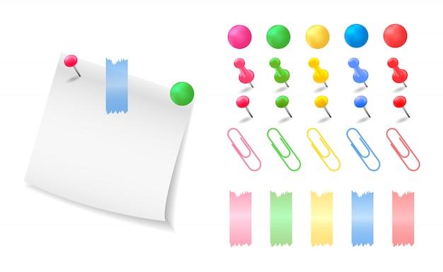 コレクションのカラフルなボタン、ピン、クリップ。紙のメモ。図。