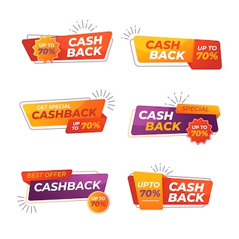 Collection of colorful cashback labels