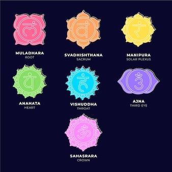 Collezione di chakra colorati