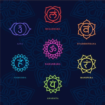 Collection of colorful chakras