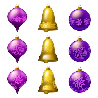 Collection of colorful christmas baubles