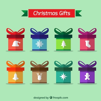 Collection of colorful christmas gifts with white objects