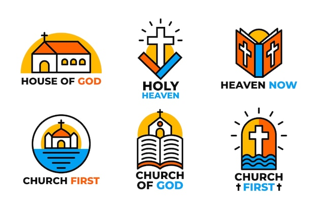 Collection of colorful church logos