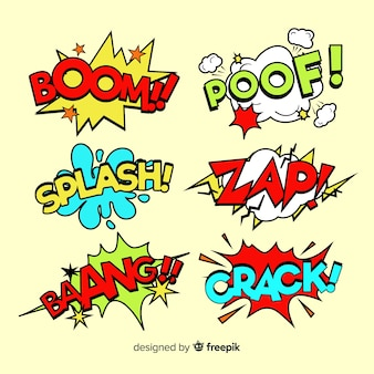 Collection of colorful comic speech bubbles