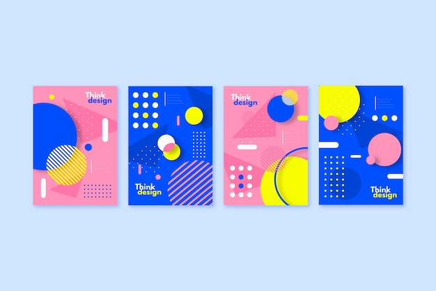 Collection of colorful covers with abstract shapes in memphis style