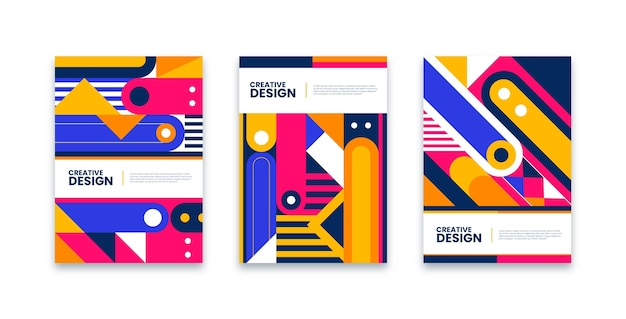 Collection of colorful covers with geometrical shapes