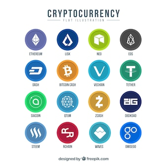 Collection of colorful cryptocurrency coins