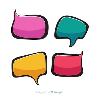 Collection of colorful empty comic speech bubbles