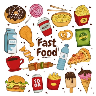 Collection of colorful fast food cartoons