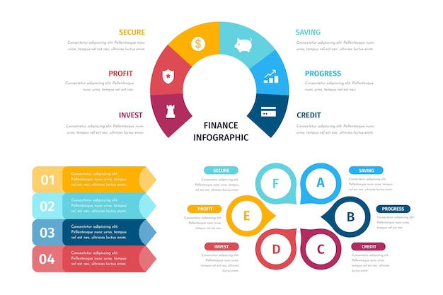Collection of colorful finance infographics