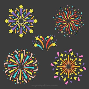 Collection of colorful firework in flat design
