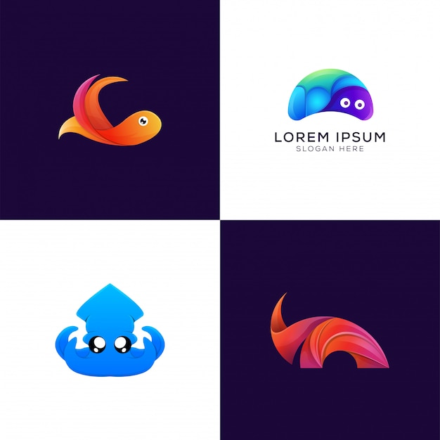 Collection of colorful fish. turtle. octopus. rhino modern logo