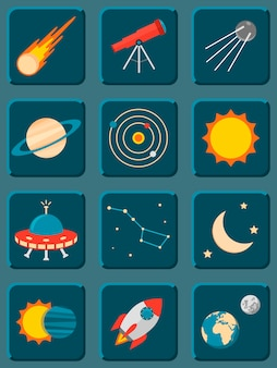 Collection of colorful flat astronomy and space icons