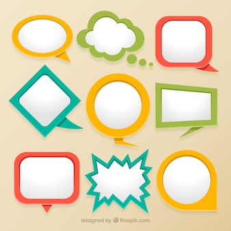 Collection of colorful flat speech bubble