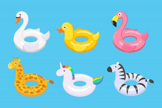 Collection of colorful floats cute kids toys set