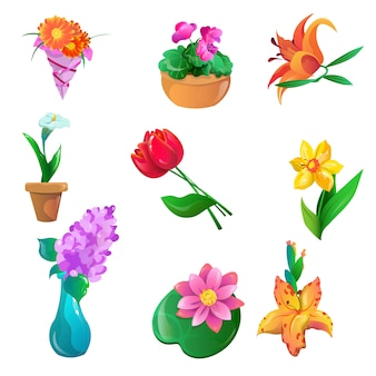 Collection of colorful flowers set calla, alstroemeria, dahlias, tulips, narcissus, lilac, water lily, lily, violet.