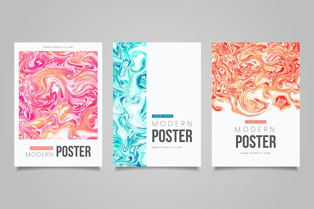 Collection of colorful fluid effect poster templates