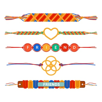 Collection of colorful friendship bands