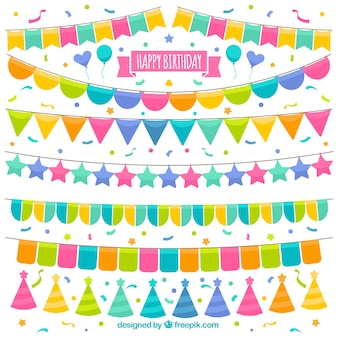 Collection of colorful garlands for birthday