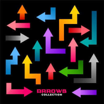 Collection of colorful geometric directions arrows set