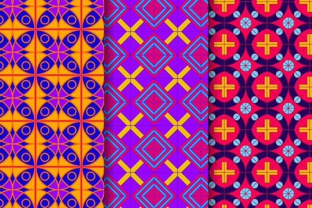 Collection of colorful geometric drawn patterns